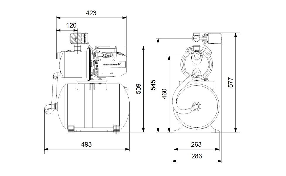 Grundfos JP 5-48 PT-H Házi vízmű 1,5m kábellel 20 l tartállyal (99463877) műszaki ábra