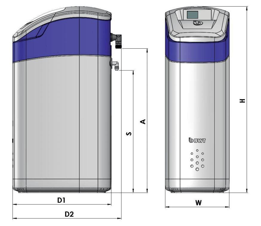 BWT Perla Silk Smart L Vízlágyító műszaki ábra