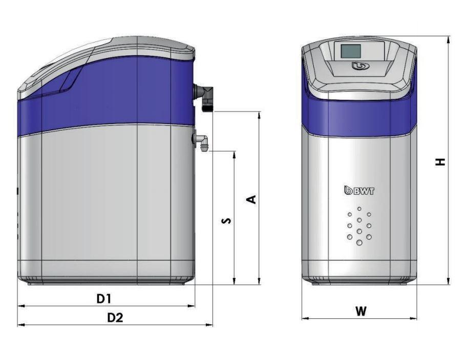 BWT Perla Silk Basic M Vízlágyító műszaki ábra