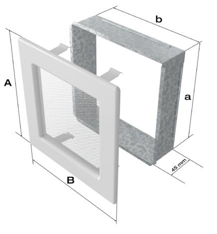 Kratki Egyszerű Szellőzőrács 22x30 cm műszaki ábra