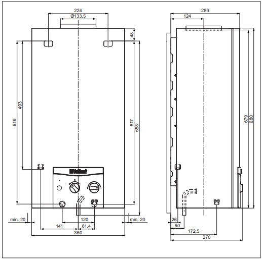 Vaillant atmoMAG 144/1 G (H-HU) Kéményes átfolyós gáz vízmelegítő generátoros gyújtású műszaki adatlap