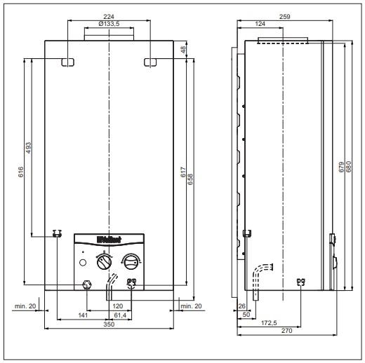 Vaillant atmoMAG 144/1 I (H-HU) Kéményes átfolyós gáz vízmelegítő elemes gyújtású műszaki adatlap