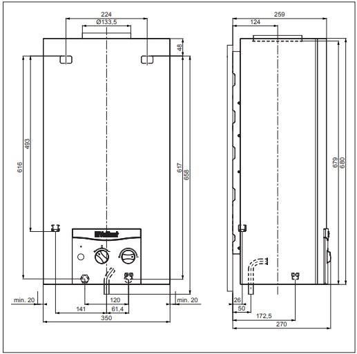 Vaillant atmoMAG 144/1 Z (H-HU) Kéményes átfolyós gáz vízmelegítő piezoelektromos gyújtású műszaki adatlap