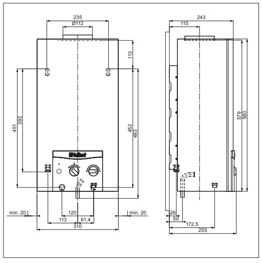 Vaillant atmoMAG mini 114/1 I (H-HU) Kéményes átfolyós gáz vízmelegítő elemes gyújtású műszaki adatlap