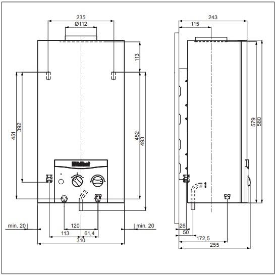 Vaillant atmoMAG mini 114/1 Z (H-HU) Kéményes átfolyós gáz vízmelegítő piezoelektromos gyújtású műszaki adatlap