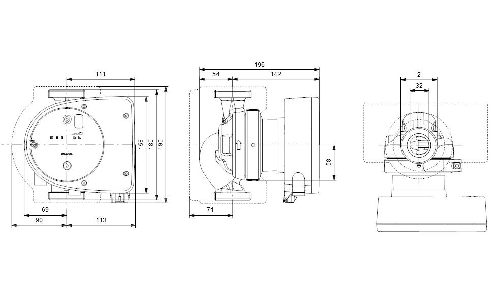 Grundfos MAGNA1 32-100 180 Fűtési keringető szivattyú PN10 (99221236) műszaki ábra
