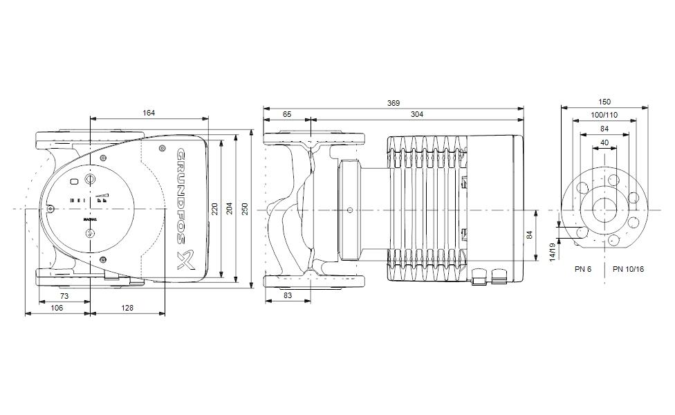 Grundfos MAGNA1 40-120 F 250 Fűtési keringető szivattyú PN6/10 (99221305) műszaki ábra