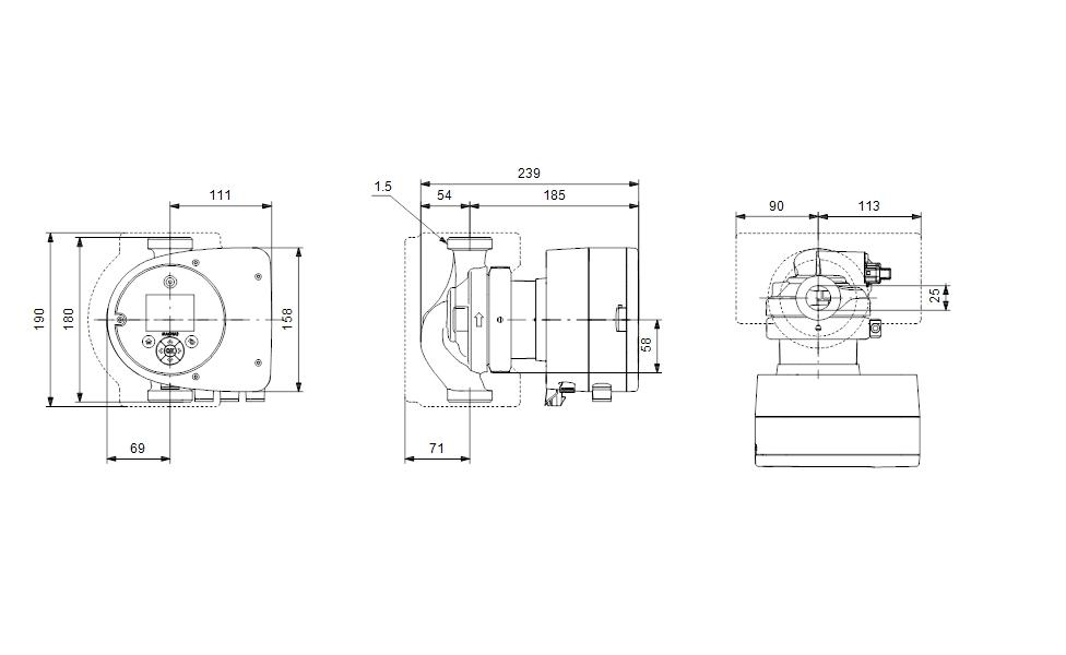 Grundfos MAGNA3 25-60 180 Fűtési keringető szivattyú PN10 (97924245) műszaki ábra