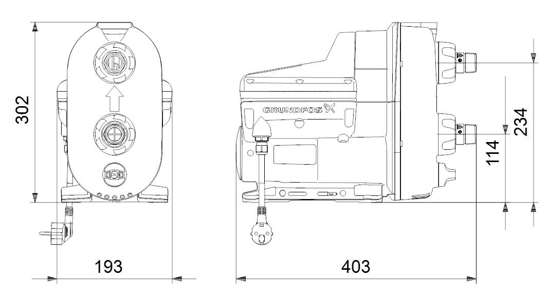 Grundfos Scala2 3-45 A Kompakt házi vízellátó szivattyú (98562862) műszaki ábra