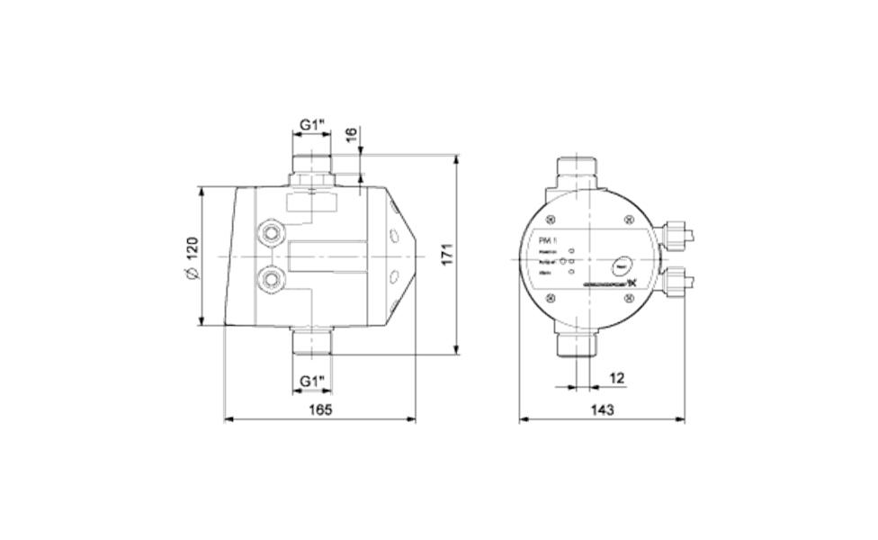 Grundfos PM 1 15 Nyomásvezérlő (96848693) műszaki ábra