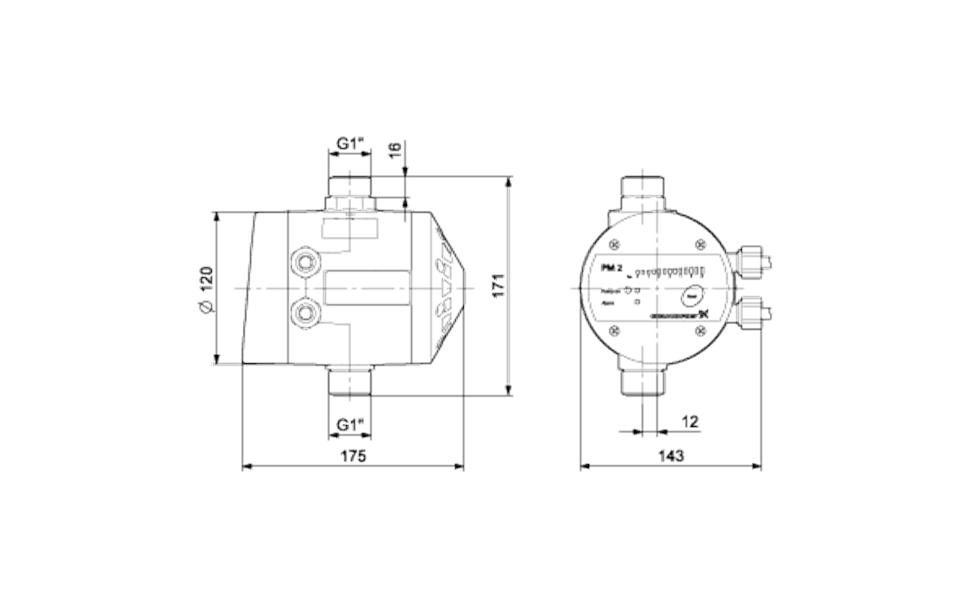 Grundfos PM 2 AD Nyomásvezérlő (96848740) műszaki ábra