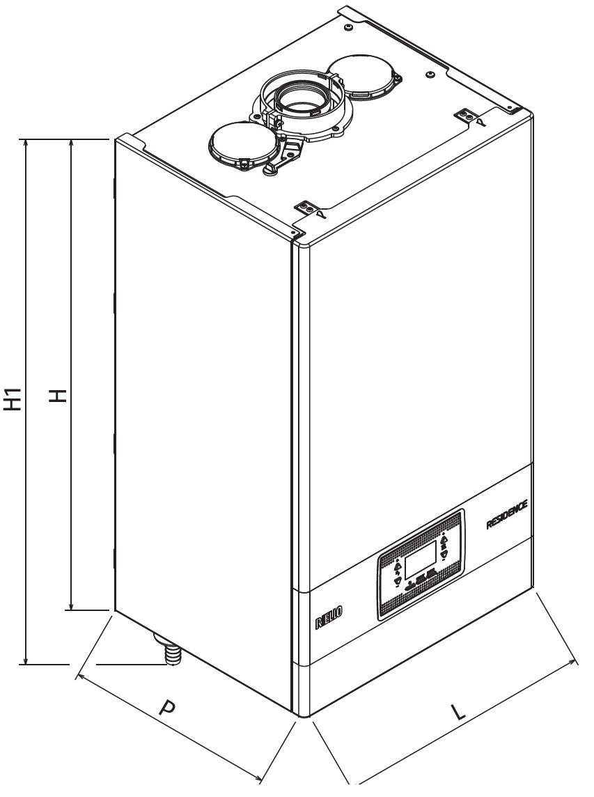 Riello Residence 25 KIS MTN Fali kondenzációs kombi gázkazán 19 kW műszaki ábra