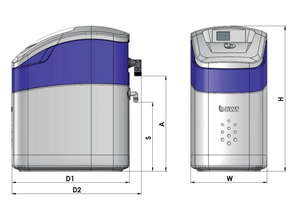 BWT Perla Silk Basic S Vízlágyító műszaki ábra
