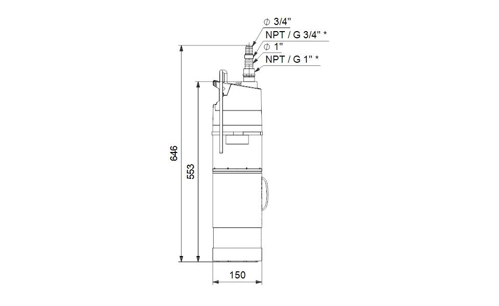 Grundfos SBA3-45 A Merülő szivattyú 15m kábellel (97896290) műszaki ábra