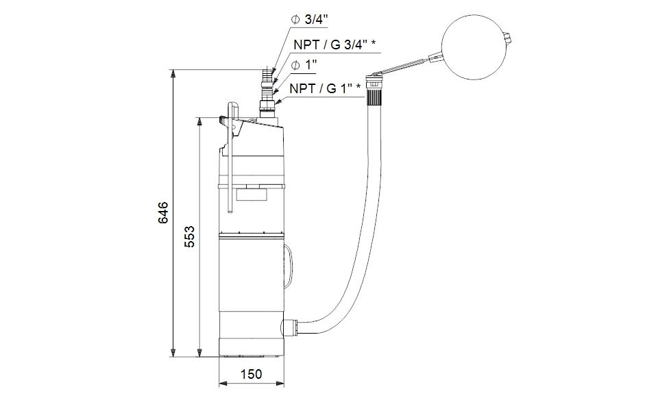 Grundfos SBA3-45 AW Merülő szivattyú 15m kábellel (97896312) műszaki ábra