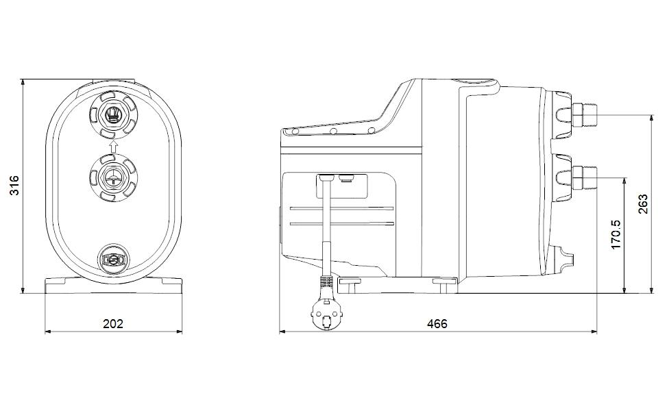 Grundfos Scala1 5-55 Kompakt nyomásfokozó szivattyú (99530407) műszaki ábra