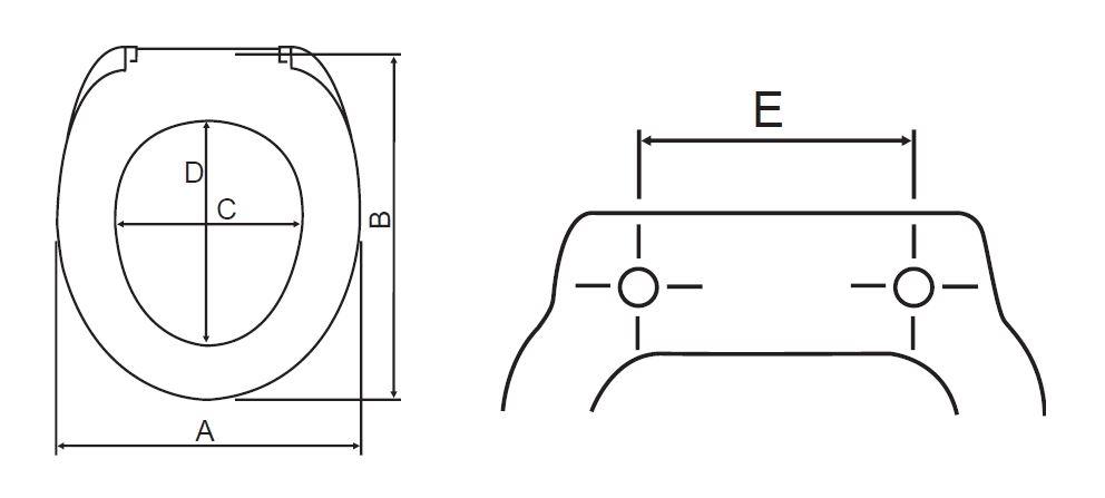 Styron Száva WC ülőke ütköző nélküli rozsdamentes zsanérral (STY-550-10) műszaki ábra