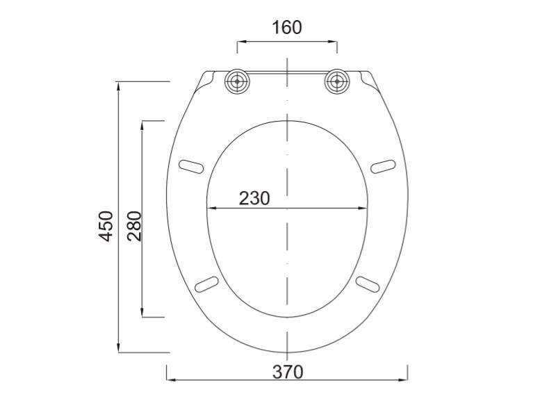 Styron Tisza WC ülőke íves formatervezett, fém zsanérral (STY-550-1) műszaki ábra