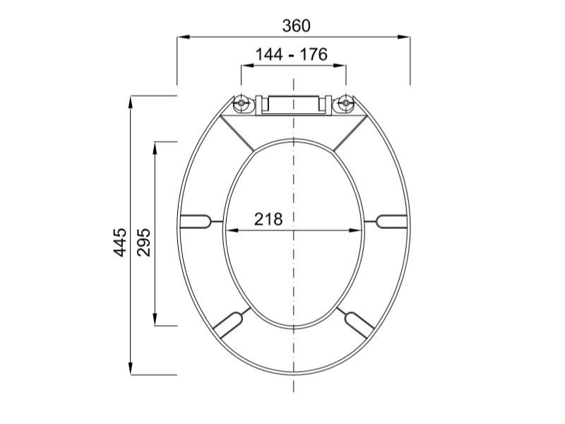 Styron Kőrös WC ülőke műanyag zsanérral (STY-550-2) műszaki ábra