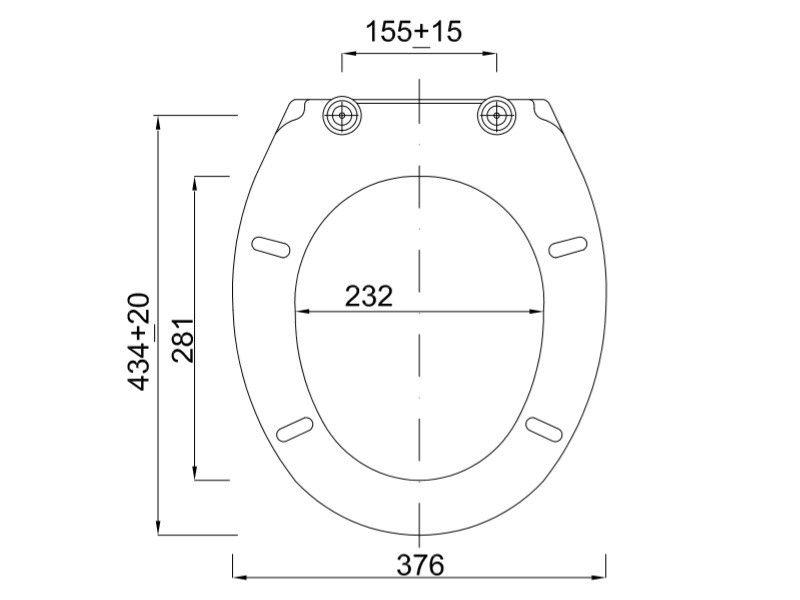 Styron Duna WC ülőke lecsapódásgátlós fém zsanérral (STY-550) műszaki ábra
