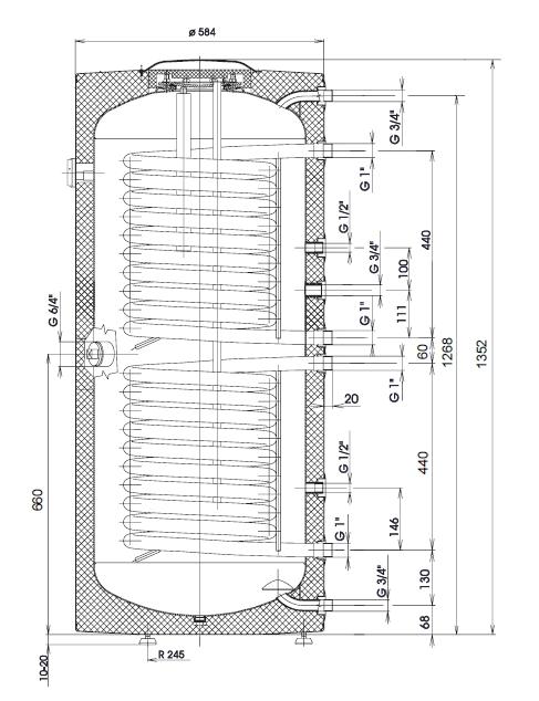Immergas UBS 200 Sol Két hőcserélős indirekt tároló műszaki ábra