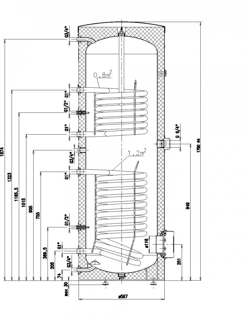 Immergas UBS 300 Sol Két hőcserélős indirekt tároló műszaki ábra