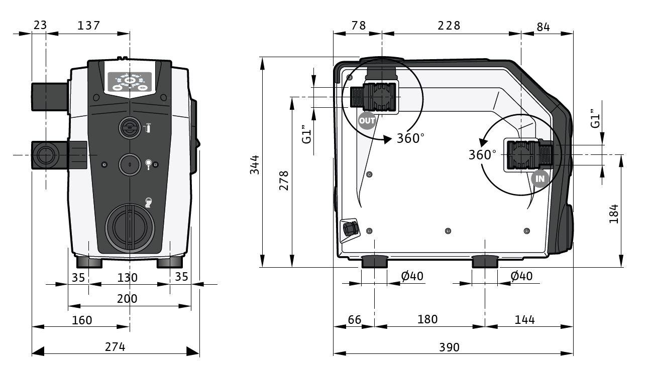 Wilo Isar BOOST5-E-5 Háztatási nyomásfokozó frekvenciaváltóval méretábra