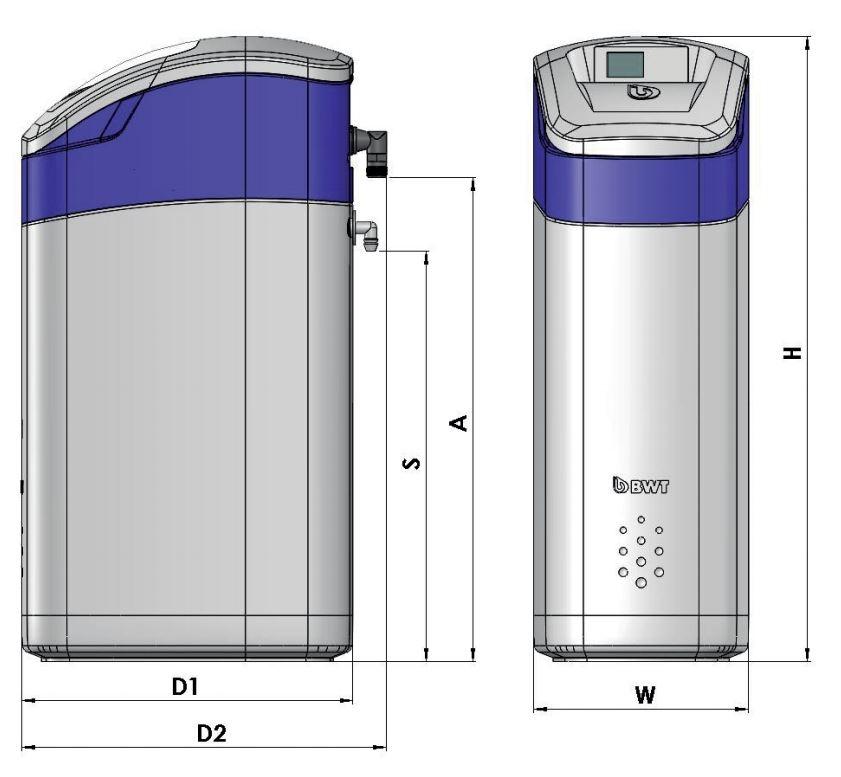 BWT Perla Silk Smart XL Vízlágyító műszaki ábra