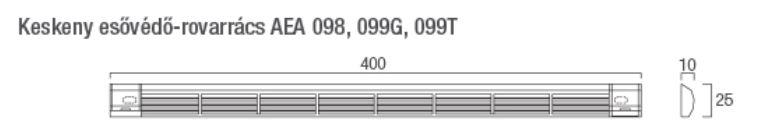Aereco AEA 098 Keskeny esővédő rovarráccsal 10 mm fehér műszaki adatlap