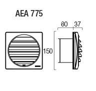 Aereco AEA 775 Külső esővédő rács EHT, EFT típusokhoz átm. 100 mm falátvezetéhez fehér