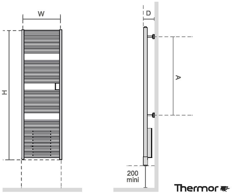 Thermor Riva4 500 W Elektromos törölközőszárító radiátor LCD kijelzővel integrált programozhatósággal egyenes műszaki adatlap