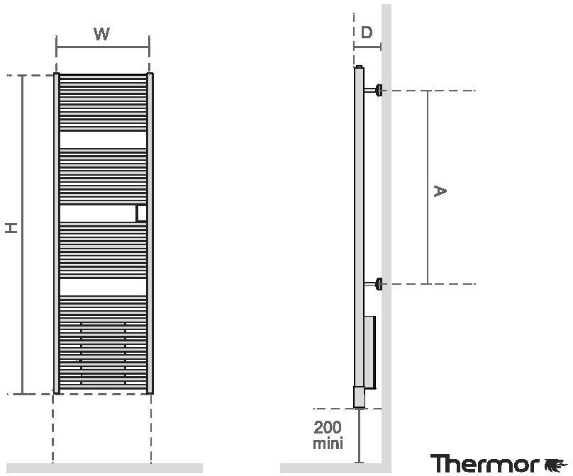 Thermor Riva4 1000 W Elektromos törölközőszárító radiátor LCD kijelzővel integrált programozhatósággal egyenes műszaki adatlap