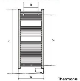 Thermor Corsaire 500 W Elektromos törölközőszárító radiátor íves műszaki adatlap