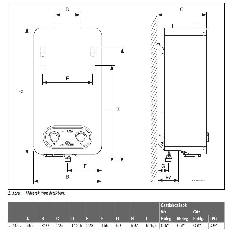Bosch Therm 4200 WR10-4 KB Elemes Gyújtású Átfolyós Gáz Vízmelegítő
