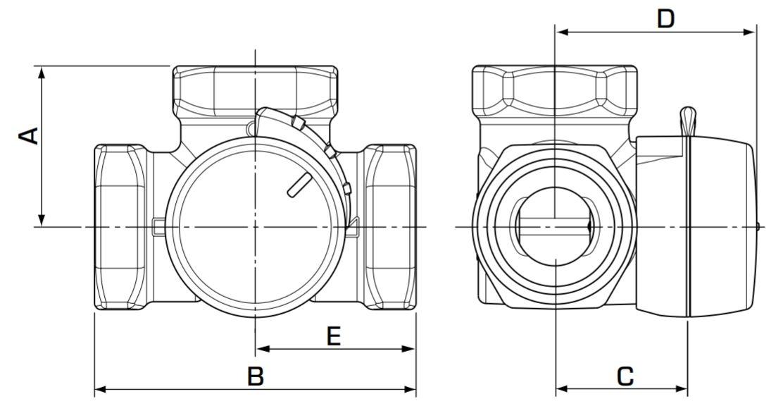 Esbe VRG131 keverőszelep műszaki ábra