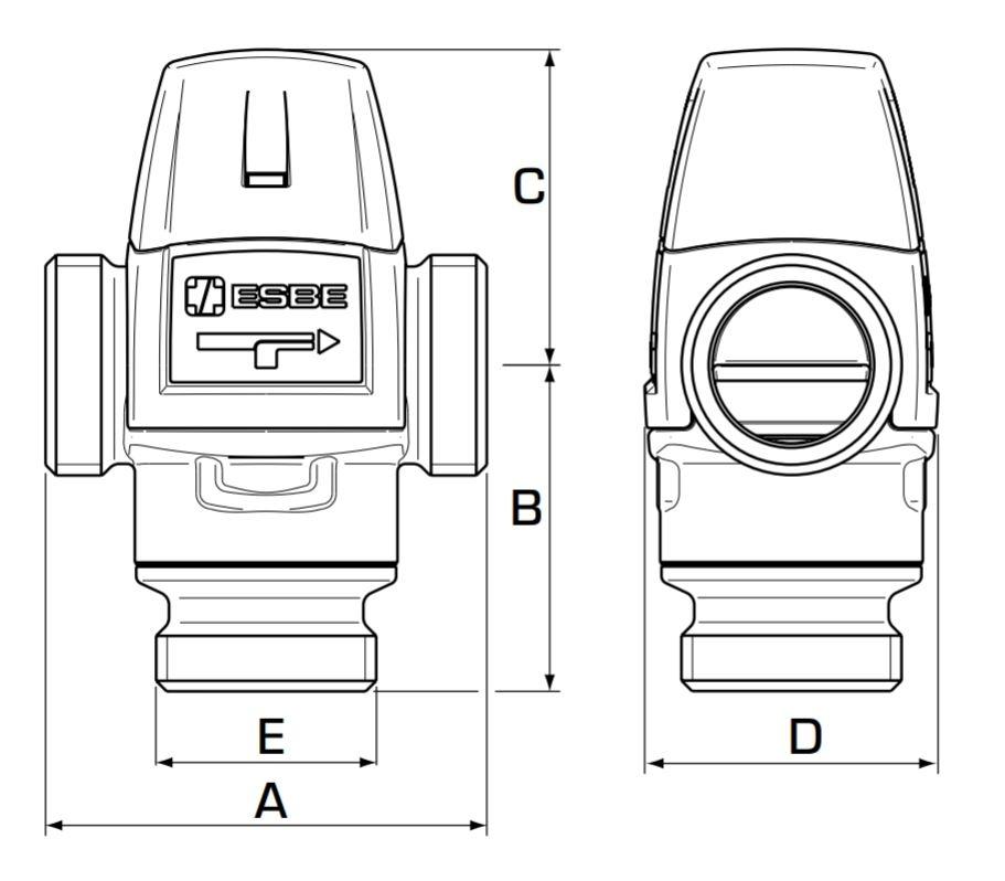 Esbe VTA 322 Keverőszelep műszaki ábra