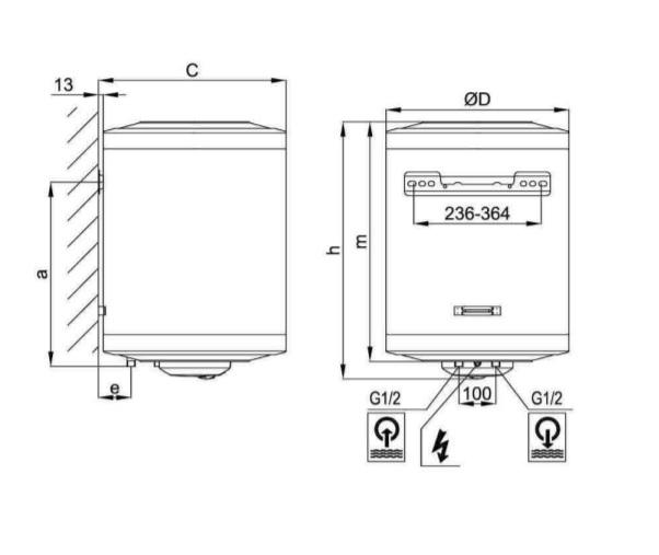 Aquastic (Hajdu Gyártmány) AQ ECO 100 ErP 100 literes villanybojler műszaki ábra