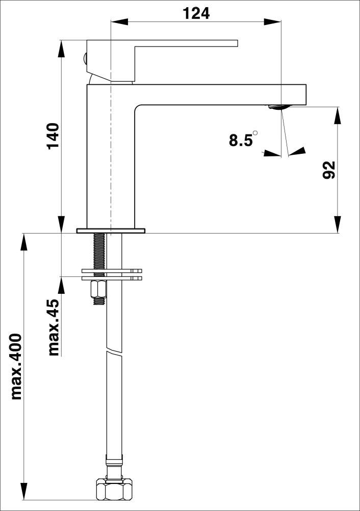 Herz Elite SQ q10B Mosdó csaptelep mattfekete 00057B műszaki adatlap