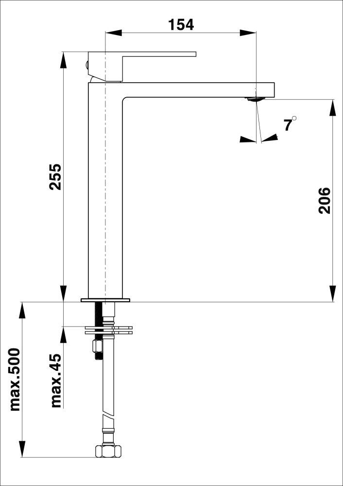 Herz Elite SQ q12B Mosdó csaptelep magasított mattfekete 00058B műszaki adatlap