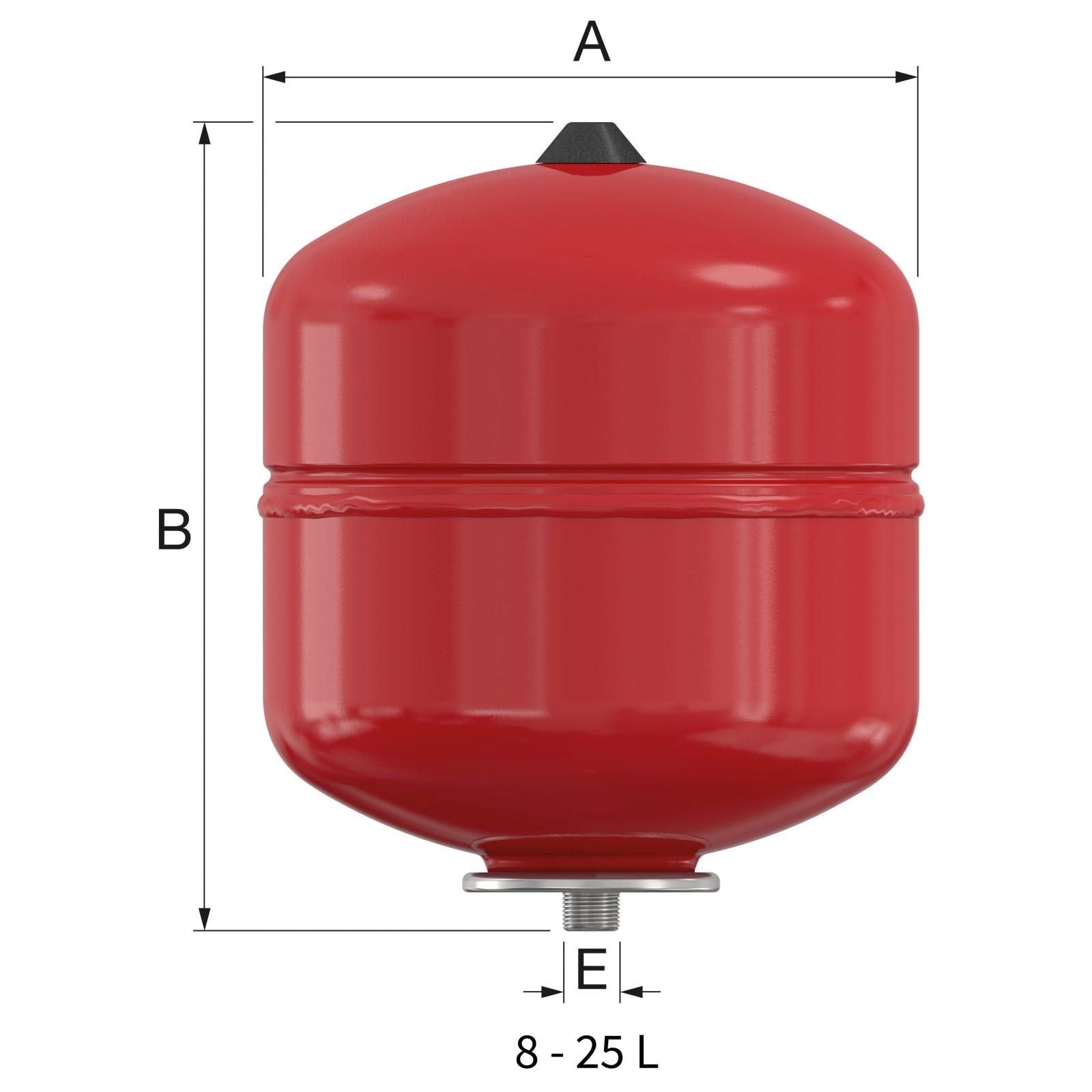 Flamco Baseflex fűtési tágulási tartály 8/1,5 bar fali (25300) műszaki ábra