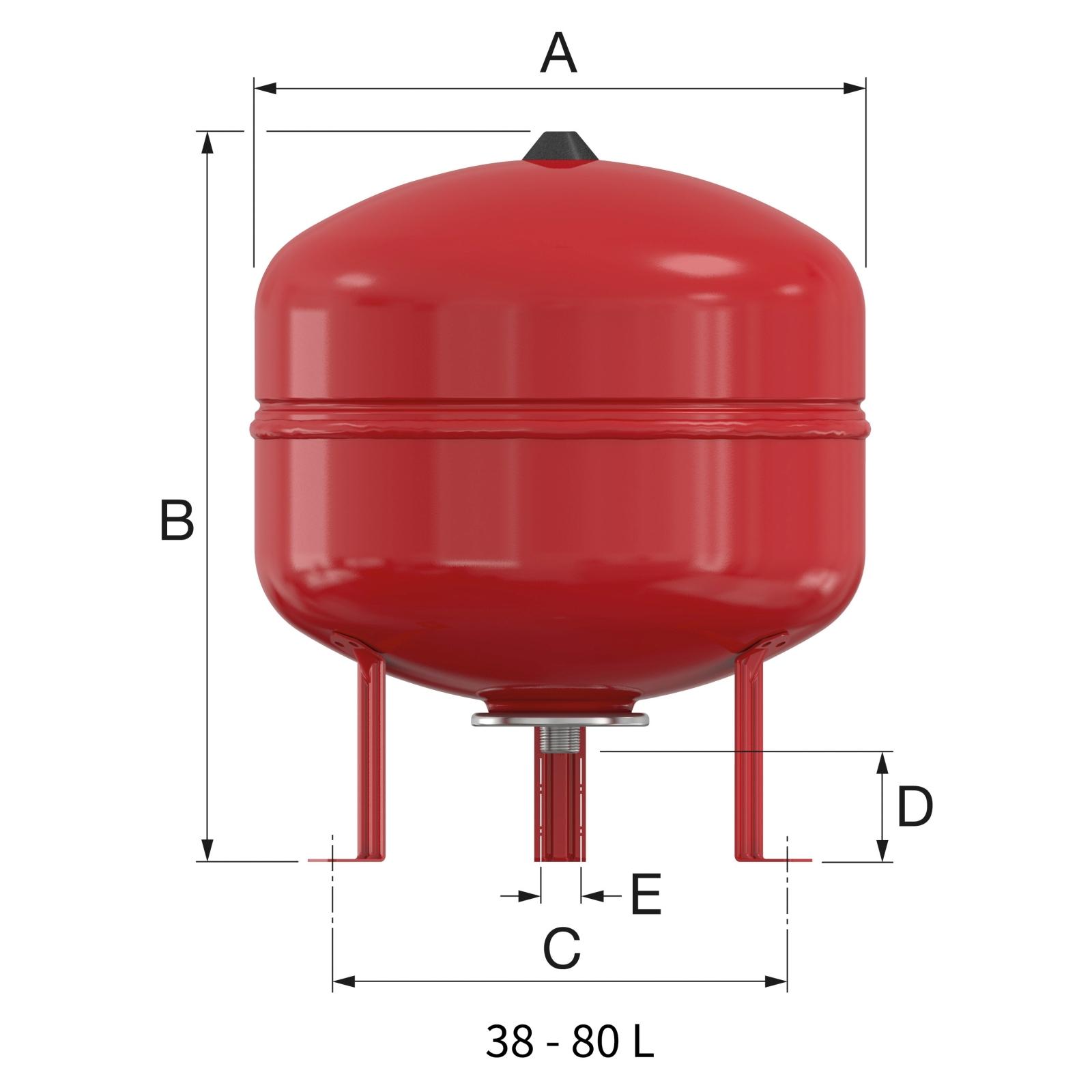 Flamco Baseflex fűtési tágulási tartály 50/1,5 bar álló (25306) műszaki ábra
