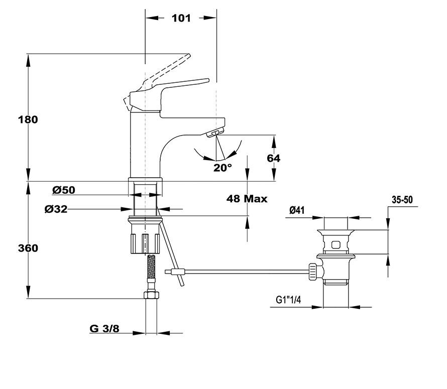 Mofém Mambo-5 Mosdó csaptelep leeresztő szelep nélküli flexibilis bekötéssel 150-0076-00 műszaki ábra