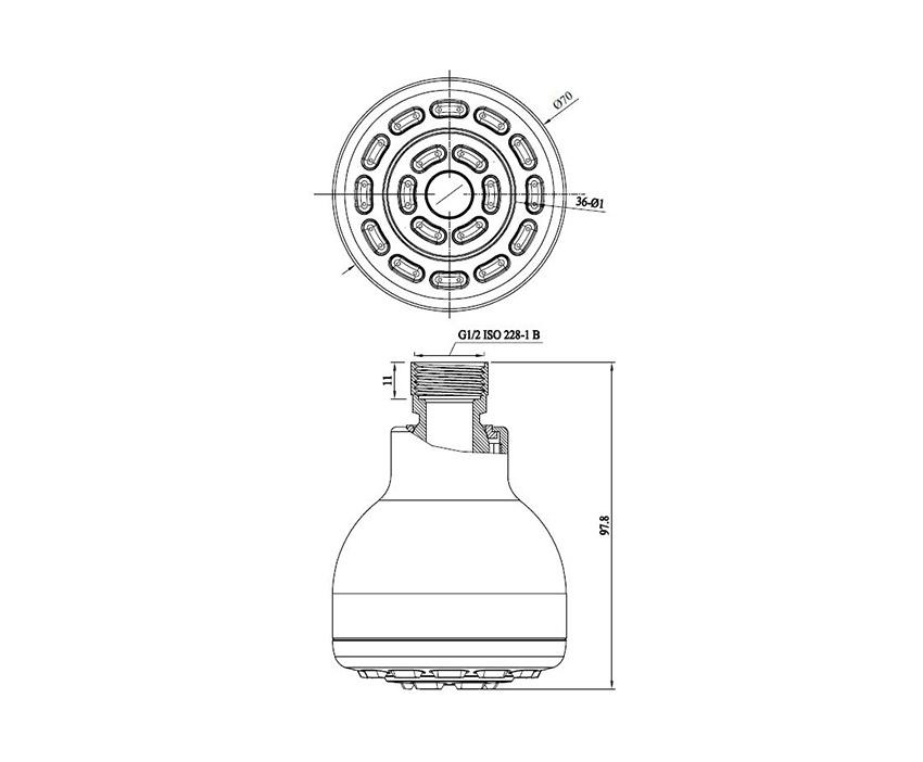 Mofém Basic Zuhanyfej 275-0042-07 műszaki ábra