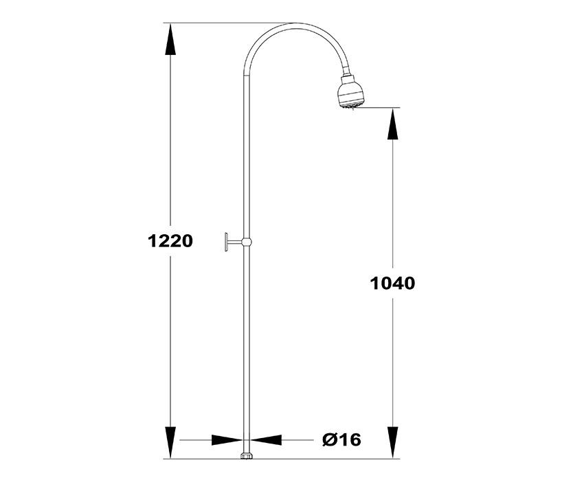 Mofém Basic Zuhanyrendszer fix felszállócsővel és zuhanyfejjel 279-0076-08 műszaki ábra