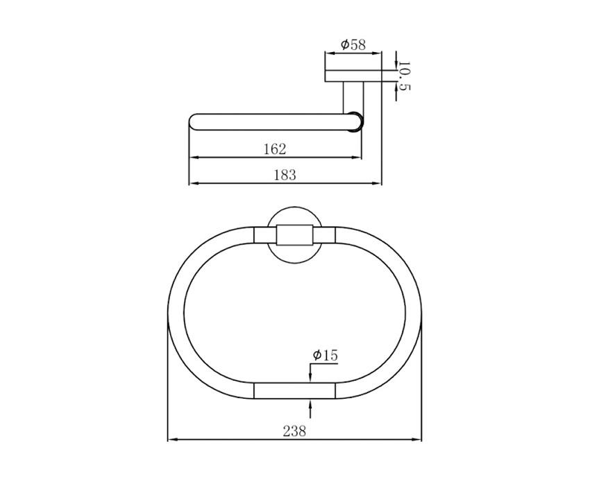 Mofém Fiesta Gyűrű törölközőtartó 501-1012-00 műszaki ábra