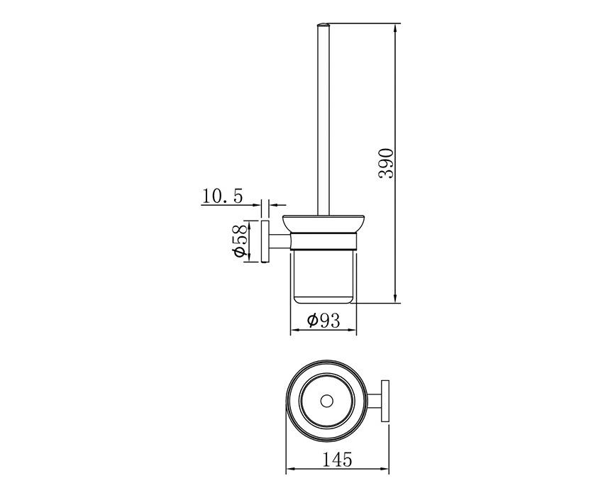 Mofém Fiesta WC kefe fali tartóval 501-1080-00 műszaki ábra