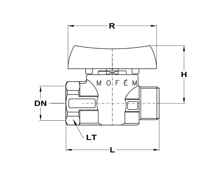 Mofém Flexum gömbcsap 1 KB fix gáz 113-0074-10 műszaki adatlap