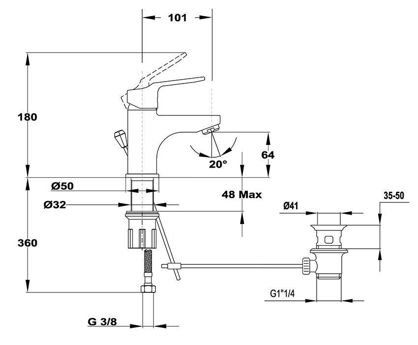 Mofém Mambo-5 Mosdó Csaptelep Leeresztő szeleppel Flexibilis bekötéssel 150-0077-00 műszaki ábra