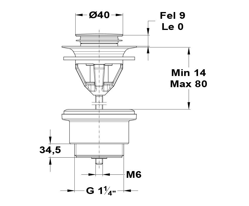 Mofém Nyomógombos leeresztő szelep 168-0005-00 műszaki ábra