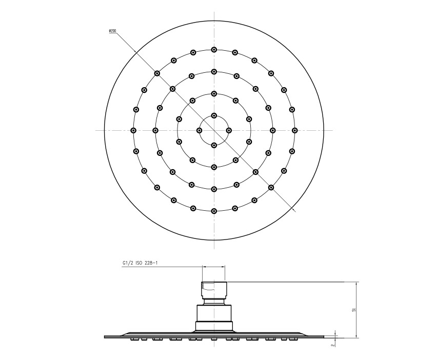 Mofém Zenit Zuhanyfej 175-0005-00 műszaki ábra